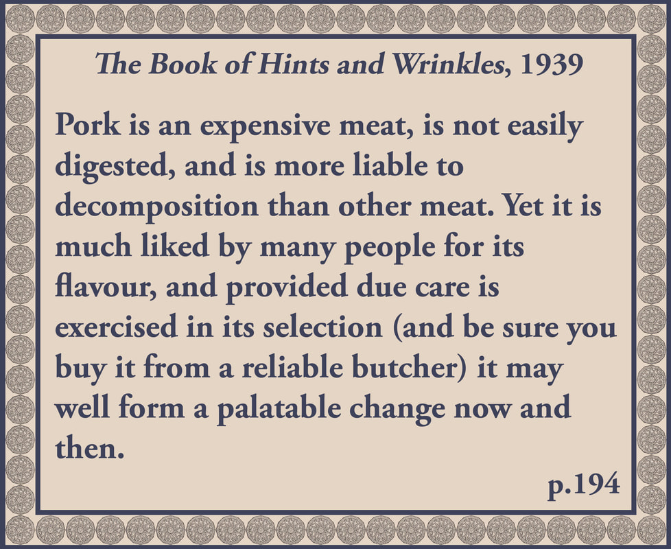The Book of Hints and Wrinkles advice on buying pork