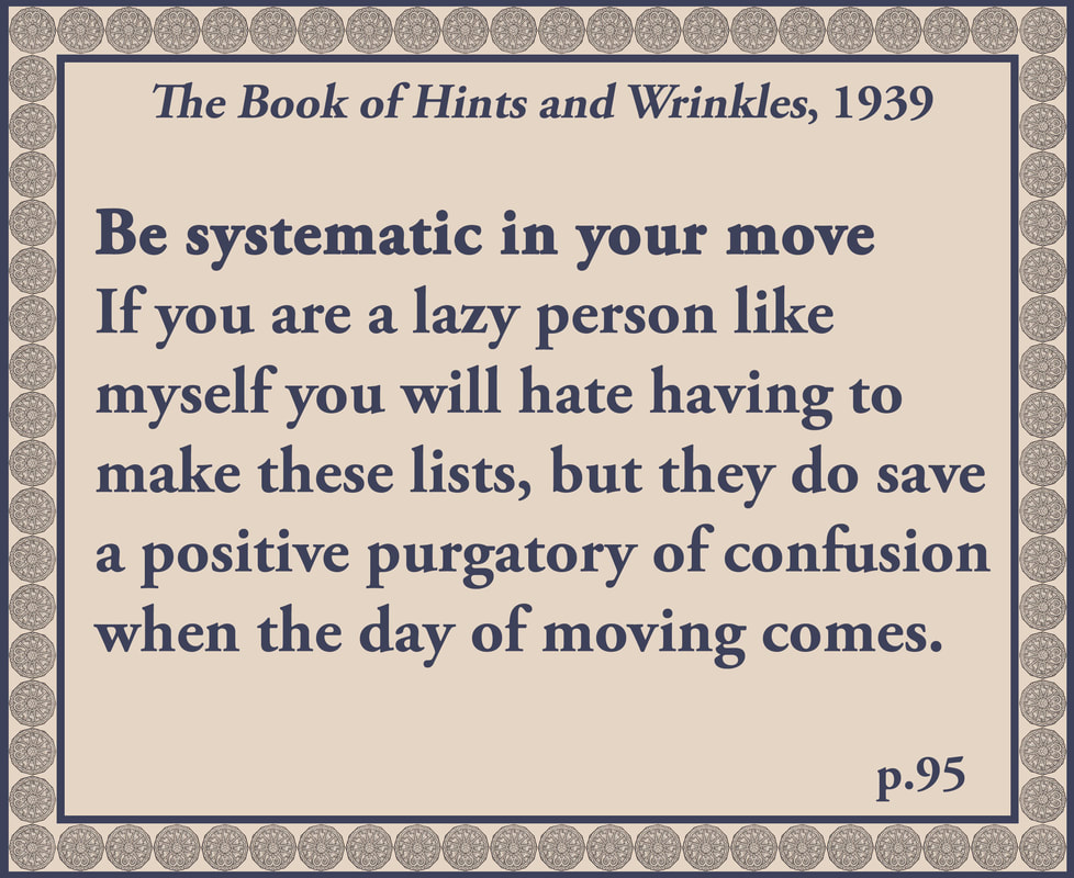 The Book of Hints and Wrinkles advice on moving house
