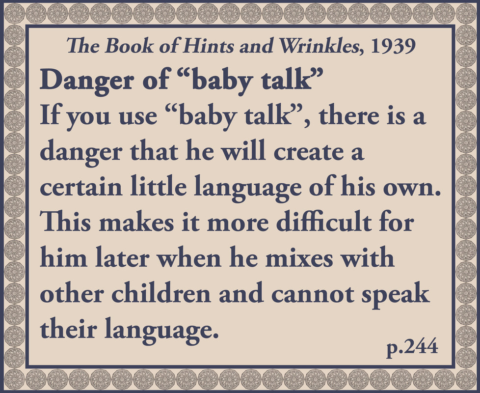 The Book of Hints and Wrinkles advice on baby talk