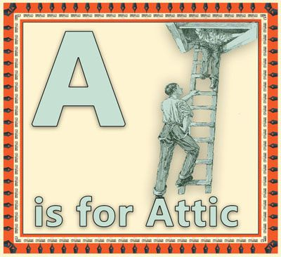A is for Attic flashcard