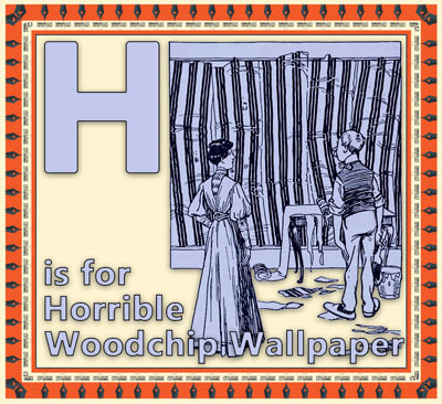 Alphabet flashcard H is for Horrble Woodchip Wallpaper