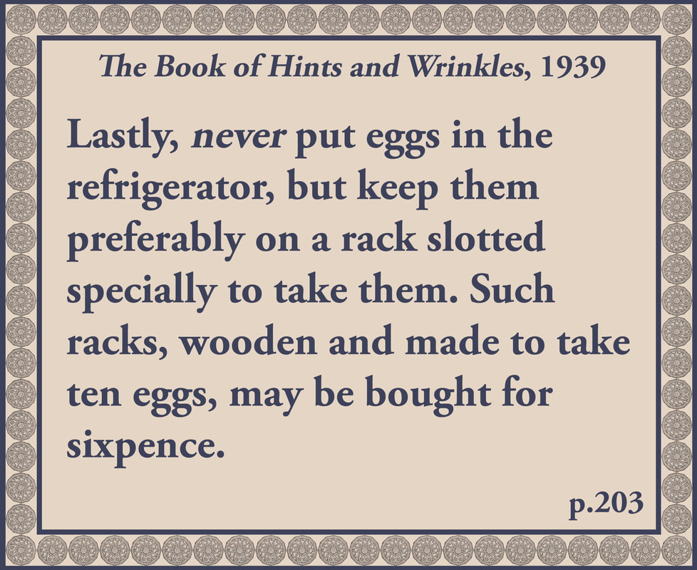 The Book of Hints and Wrinkles advice on how to store eggs
