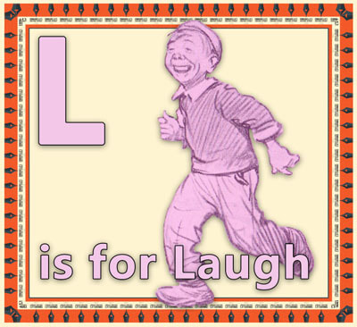 Alphabet flashcard L is for Laugh