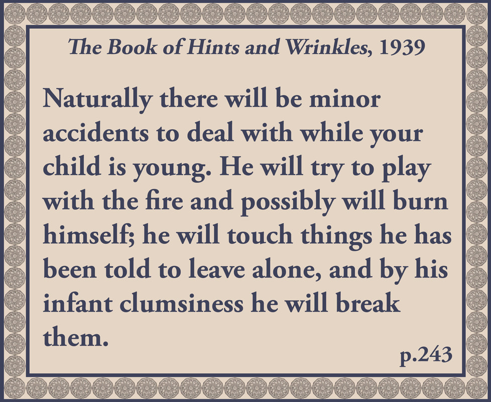 The Book of Hints and Wrinkles advice on childhood accidents