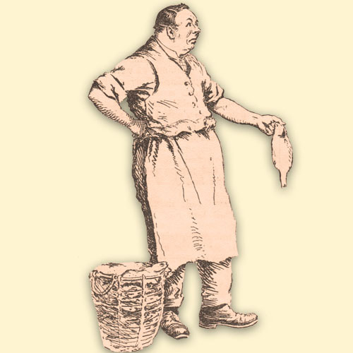 A fishmonger holding a fish