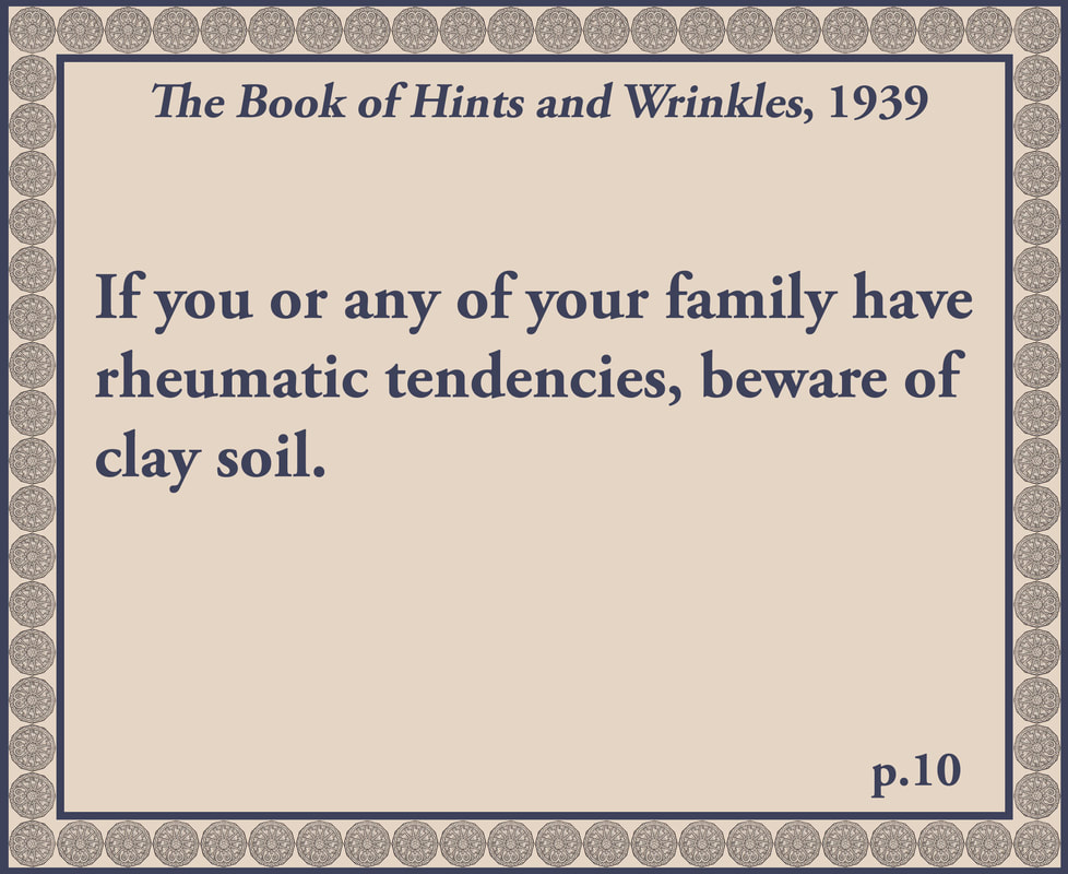The Book of Hints and Wrinkles advice on clay soil