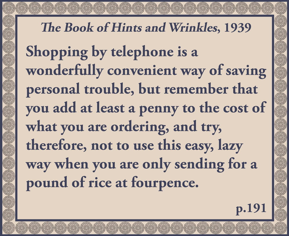 The Book of Hints and Wrinkles advice on shopping by telephone