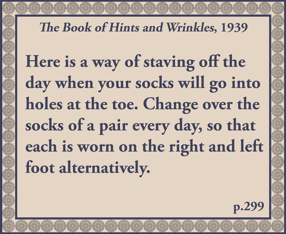 The Book of Hints and Wrinkles advice on socks