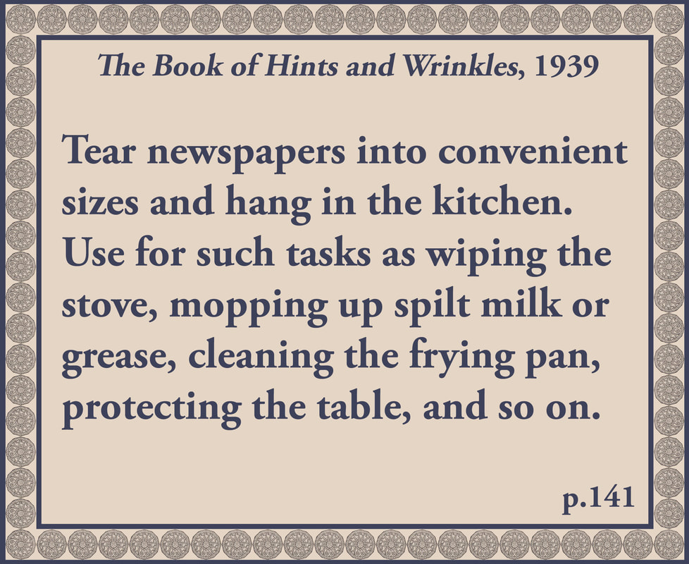 The Book of Hints and Wrinkles advice on reusing newspapers
