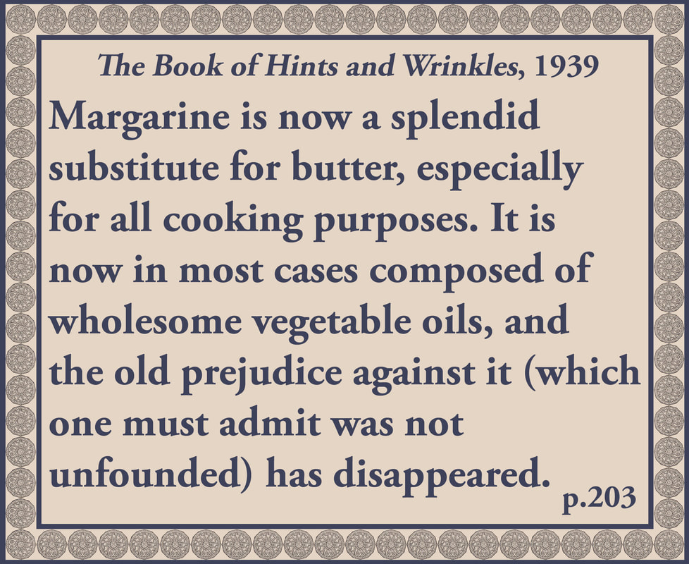 The Book of Hints and Wrinkles advice on margarine