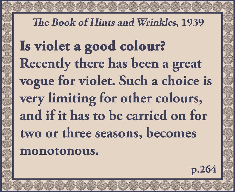 The Book of Hints and Wrinkles advice on wearing violet